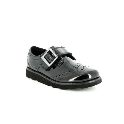 Clarks Girls Shoes - Black patent - 3490/36F CROWN PRIDE INF