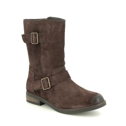 Clarks Ankle Boots - Brown Suede - 468024D DEMI FLOW