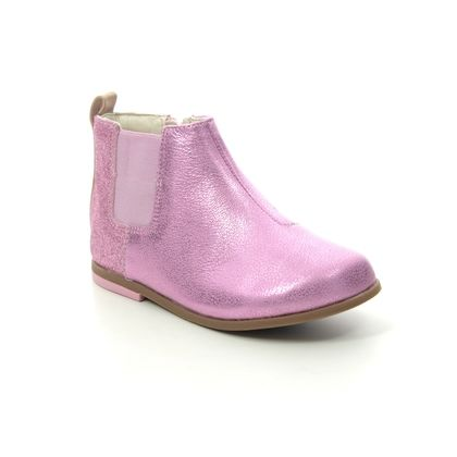 Clarks Infant Girls Boots - Pink Leather - 454187G DREW FUN T