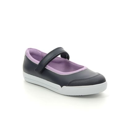 Clarks Girls Shoes - Navy Leather - 453956F EMERY HALO K