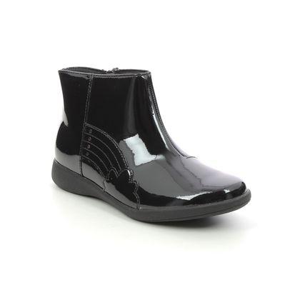 Clarks Girls Boots - Black patent - 628486F ETCH GLOW K
