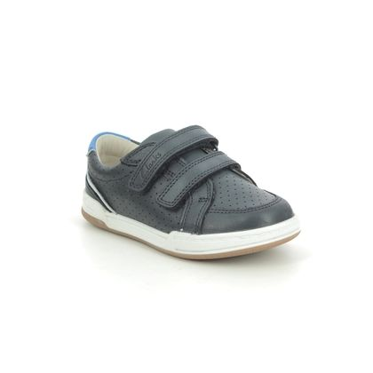Clarks Boys Shoes - Navy Leather - 589887G FAWN SOLO T