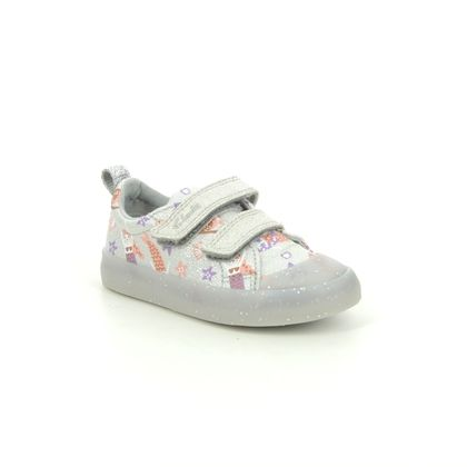 Clarks Girls Trainers - Silver - 583596F FOXING PRINT T