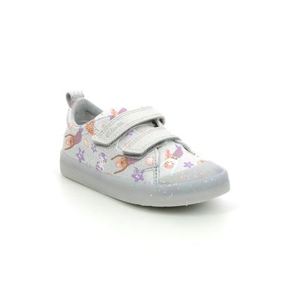 Clarks Girls Trainers - Silver - 583597G FOXING PRINT T
