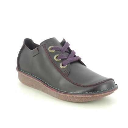 Clarks Comfort Lacing Shoes - Aubergine Leather - 195454D FUNNY DREAM