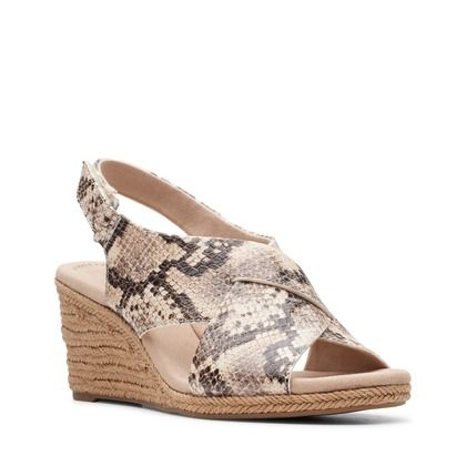 Clarks Wedge Sandals - Taupe - 481344D LAFLEY ALAINE