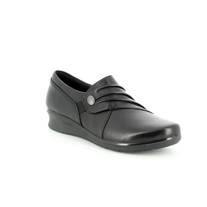 Clarks Comfort Slip On Shoes - Black leather - 3720/04D HOPE ROXANNE