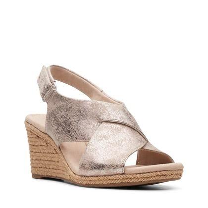 Clarks Wedge Sandals - Pewter - 481354D LAFLEY ALAINE