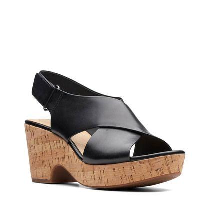 Clarks Wedge Sandals - Black leather - 413944D MARITSA LARA