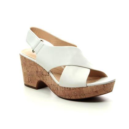 Clarks Wedge Sandals - WHITE LEATHER - 413754D MARITSA LARA