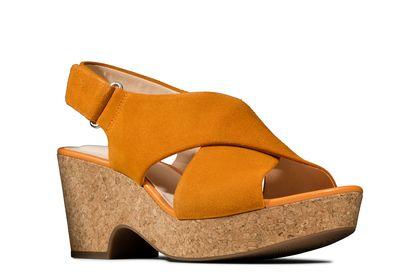 Clarks Wedge Sandals - Yellow Suede - 479284D MARITSA LARA