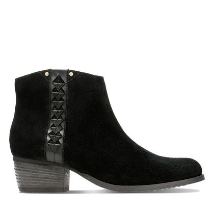 Clarks Fashion Ankle Boots - Black Suede - 3632/74D MAYPEARL FAWN