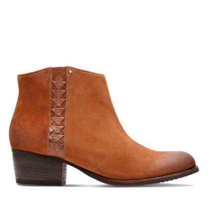 Clarks Fashion Ankle Boots - Tan Suede - 3632/84D MAYPEARL FAWN