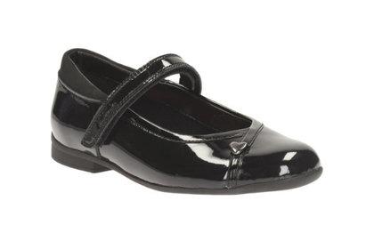 Clarks Girls Shoes - Black patent - 1395/94D MOVELLO LO JNR
