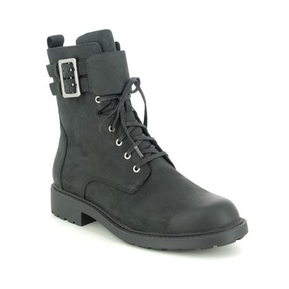 Clarks Lace Up Boots - Black leather - 523275E ORINOCO 2 LACE