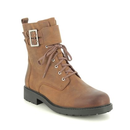 Clarks Lace Up Boots - Brown leather - 523335E ORINOCO 2 LACE