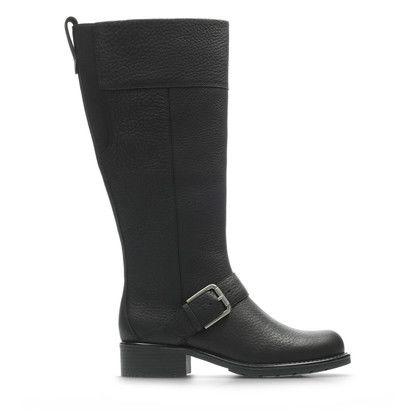 Clarks Knee High Boots - Black leather - 3819/64D ORINOCO JAZZ