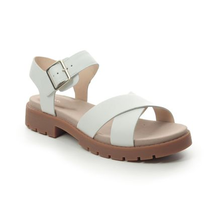 Clarks Flat Sandals - WHITE LEATHER - 477474D ORINOCO STRAP