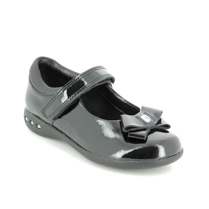 Clarks Girls Shoes - Black patent - 3875/26F PRIME SKIP