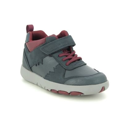 Clarks Boys Boots - Navy Leather - 535627G REX PARK K