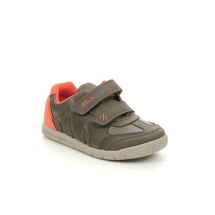 Clarks Boys Shoes - Khaki Leather - 622816F REX PLAY QUEST