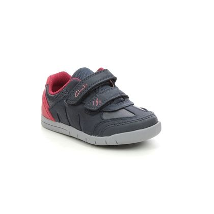 Clarks Boys Shoes - Navy Leather - 614407G REX PLAY QUEST