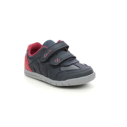 Clarks Boys Shoes - Navy Leather - 614408H REX PLAY QUEST