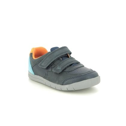 Clarks Boys Shoes - Navy - 490268H REX QUEST T