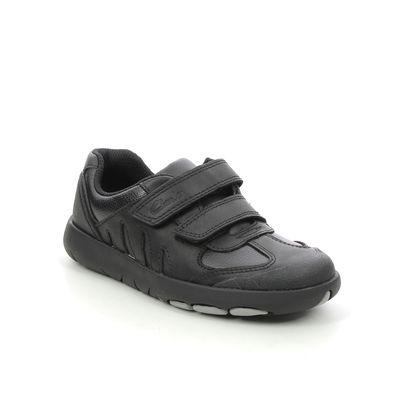 Clarks Boys Shoes - Black leather - 626987G REX STRIDE K