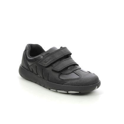 Clarks Boys Shoes - Black leather - 626988H REX STRIDE K