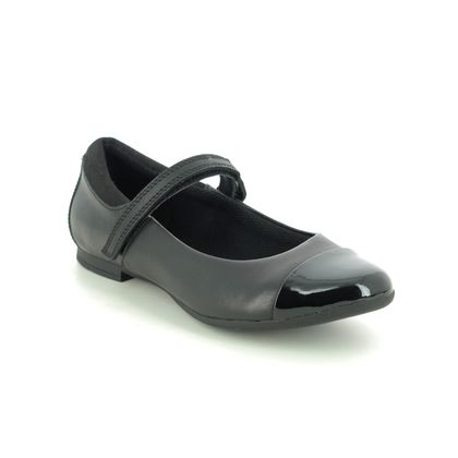 Clarks Girls Shoes - Black leather - 495575E SCALA GEM Y