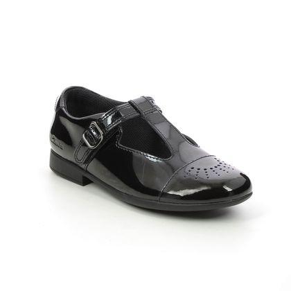 Clarks Girls Shoes - Black patent - 611166F SCALA SPIRIT K