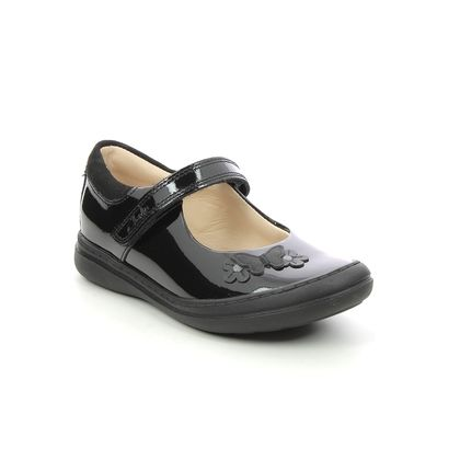 Clarks Girls Shoes - Black patent - 617316F SCOOTER DAISY T