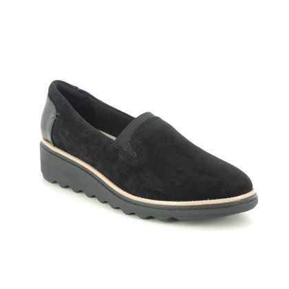 Clarks Wedge Shoes  - Black Suede - 363594D SHARON DOLLY