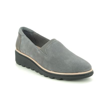 Clarks Wedge Shoes  - Grey Suede - 363604D SHARON DOLLY