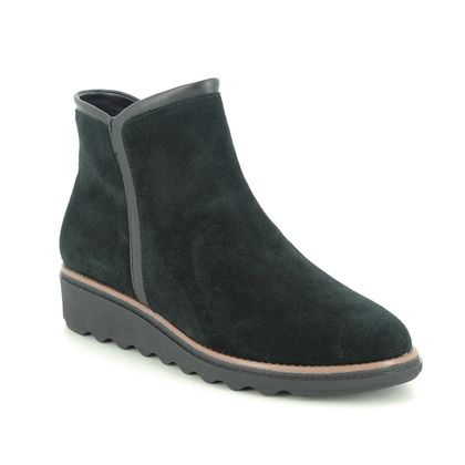 Clarks Wedge Boots - Black Suede - 535174D SHARON HEIGHTS