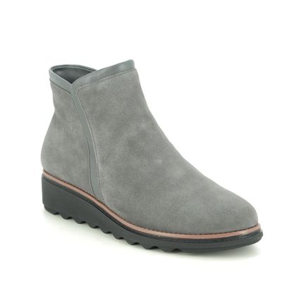 Clarks Wedge Boots - Grey-suede - 535204D SHARON HEIGHTS