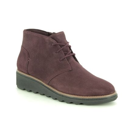 Clarks Wedge Boots - Burgundy suede - 463944D SHARON HOP