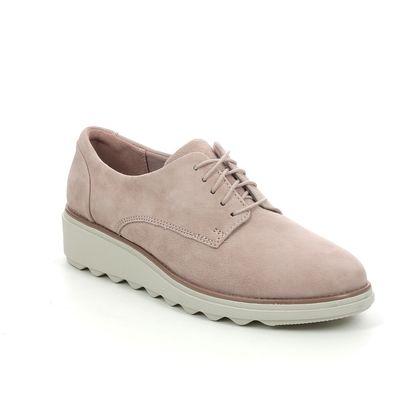Clarks Comfort Lacing Shoes - Pink suede - 574644D SHARON NOEL