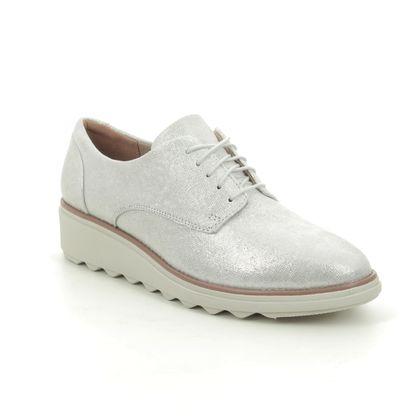 Clarks Comfort Lacing Shoes - Silver - 574654D SHARON NOEL