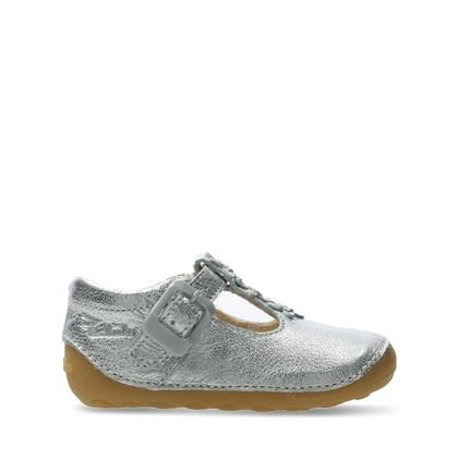 Clarks 1st Shoes & Prewalkers - Silver Leather - 576367G TINY FLOWER T