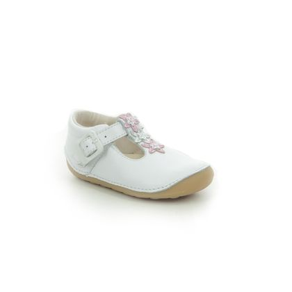 Clarks 1st Shoes & Prewalkers - White Leather - 576357G TINY FLOWER T