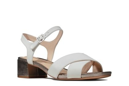 Clarks Heeled Sandals - WHITE LEATHER - 484254D SHEER 35 STRAP