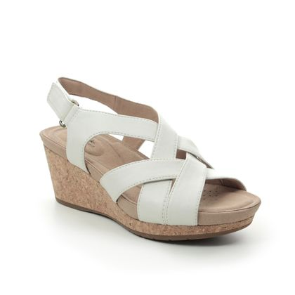 Clarks Wedge Sandals - WHITE LEATHER - 496524D UN CAPRI STEP