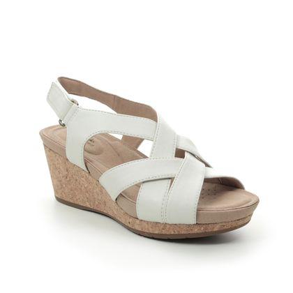 Clarks Wedge Sandals - WHITE LEATHER - 496524D UN CAPRI STEP
