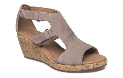 Clarks Wedge Sandals - Grey - 3326/44D UN PLAZA STRAP