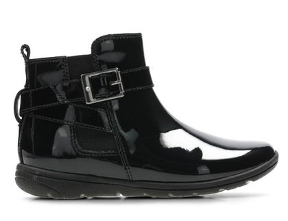 Clarks Girls Boots - Black patent - 3846/16F  VENTURE MOVE IN