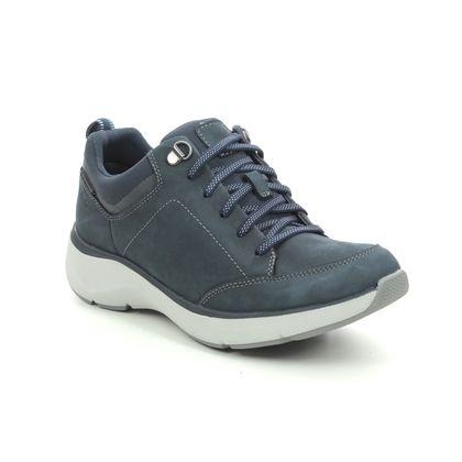 Clarks Walking Shoes - Navy nubuck - 523914D WAVE 2 LACE TEX