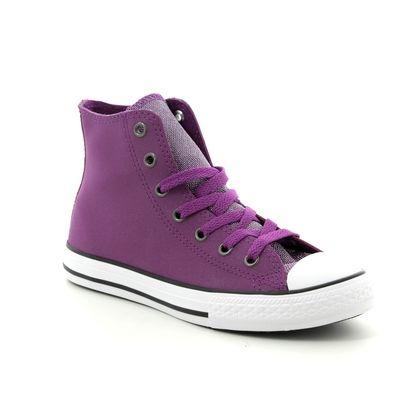 Converse Girls Trainers - Purple Glitz - 662298C ALLSTAR HI JNR