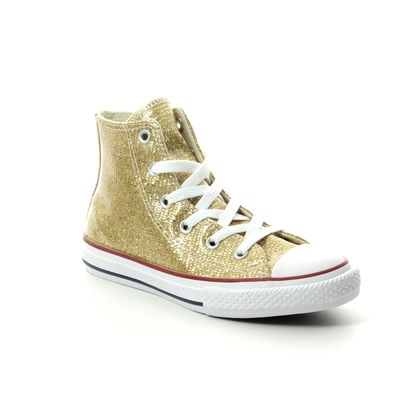 Converse Girls Trainers - Gold - 663625C ALL STAR HI TOP JUNIOR